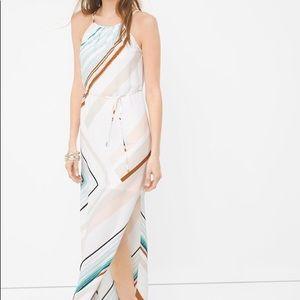 🔥🔥NEW WHBM ASYMMETRIC STRIPE MAXI DRESS